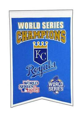 """Kansas City Royals 2 Time World Series Champions Embroidered Wool Banner 14""""X22"""""""