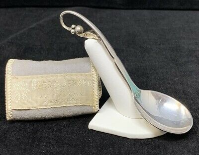 George Jensen Spoon #21 Hand Hammered Pea Pod Spoon Sterling Silver Vintage