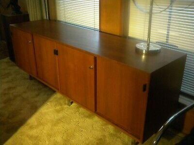 """Early Florence Knoll 72"""" Walnut Cabinet-Sliding Doors-Blk Leather Pulls--REDUCED"""