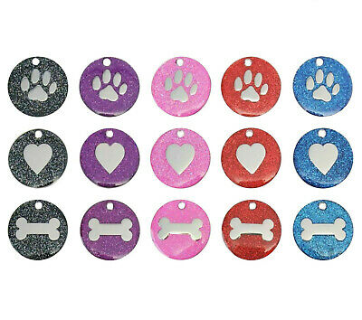 Dog Cat Pet Tag Engraved Reflective Collar ID Tags 25mm Glitter Various Designs