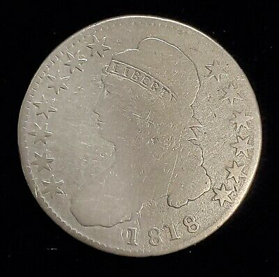 1818 Capped Bust Half Dollar 50c Coin in Good G Condition