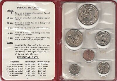 1967 SINGAPORE  6 Coin UNC Set New Currency Coin Issue  (4709)