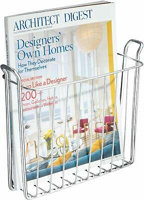 Idesign Classico Metal Wall Mount Magazine Rack, Newspaper And Book Holder For B