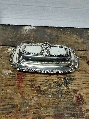Oneida Silver Plate Royal Provencial 3 Pc Covered Butter Dish Glass Insert