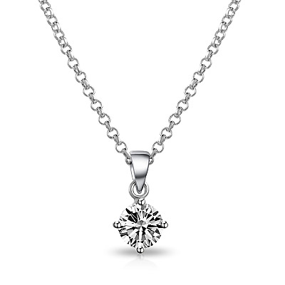 Clear Solitaire Necklace Created with Swarovski® Crystals by Philip Jones
