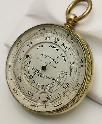 Antique Brass English Compensated Pocket Aneroid Barometer Altimeter Thermometer