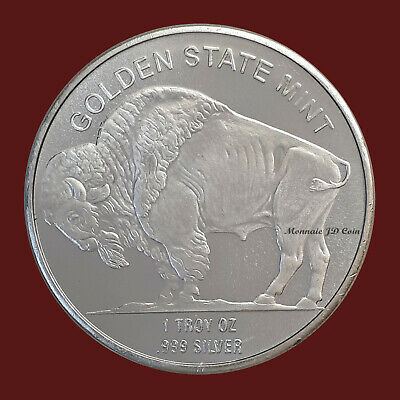 Golden State Mint 1 Troy Oz .999 Fine Silver Indian Head Buffalo Bison Coin