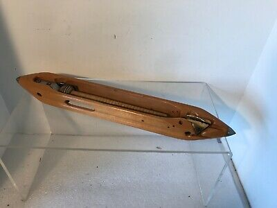 "Vintage Southern 18"" Weaving Loom Wooden Shuttle Steel Tips & Brass Insert"