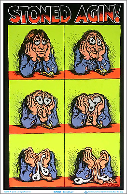 "Stoned Agin' by R Crumb Blacklight Poster - Flocked - 23"" x 35"""