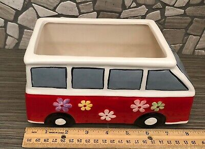 Ceramic VW Bus Planter Red With Flowers