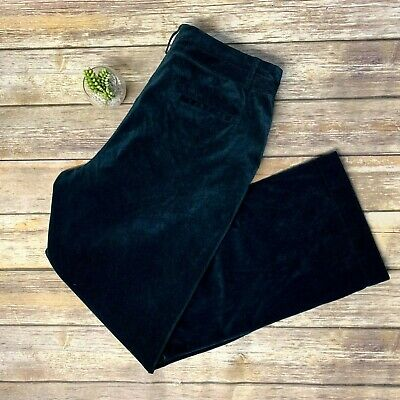 Coldwater Creek Teal Blue Green Crushed Velvet Style Wide Leg Pants Womens 16