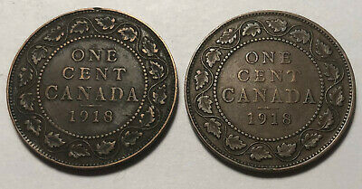 Lot of 2 - Canada 1918 Large One Cent Coins - King George V