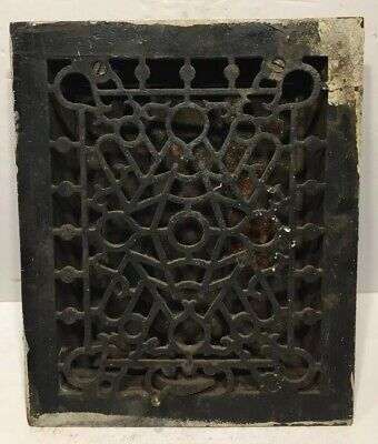 Antique Victorian Cast Iron Arch Heat Grate Vent, Ornate 3