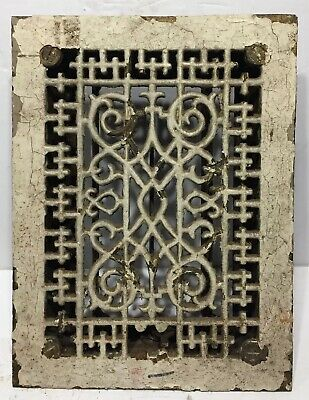 Antique Victorian Cast Iron Arch Heat Grate Vent, Ornate 6
