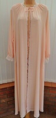 W29 Vtg St Michael M&S Silky Peach Satin Lace Negligee Peignoir Robe 16 L Exc