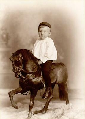 Antique Photo... Young Boy on Rocking Horse Victorian Era ...Photo Print 5x7