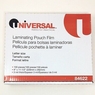 Universal Clear Laminating Pouches 3 mil 9 x 11 1/2 100/Box 84622 - NEW