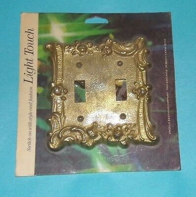 Vtg Nos Edmar Light Touch Double Switch Plate Cover Raised Flower  Metal B1