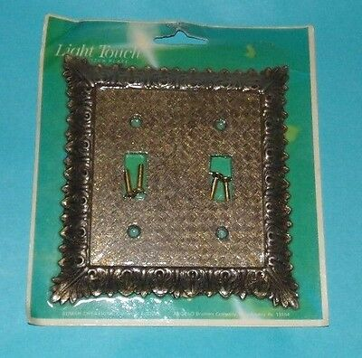Vtg NOS Edmar Light Touch Double Switch Plate Brass Gold Bronze Raised Design