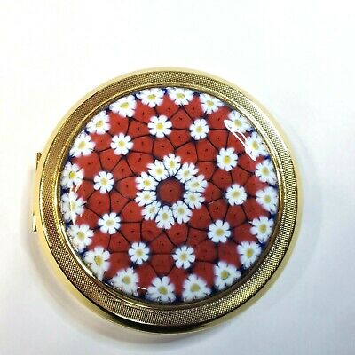 Vintage  Gold Tone Murano Millefiori Glass Mirrored Makeup Compact  Never Used