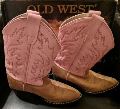 Old West Girls Overlay Western Boot Pointed Toe 8159