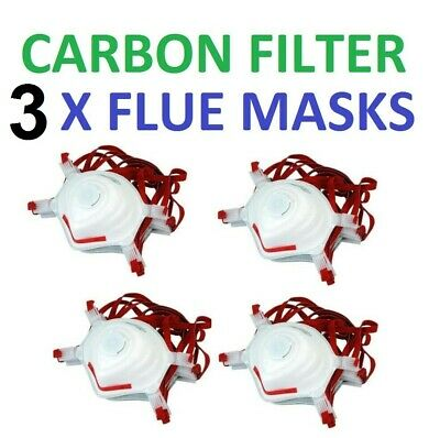 3 X Flu Virus Face Mask with Carbon Filter Coronavirus Surgical Bacteria Dust BN