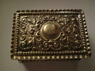Antique Ornate Repoussé and Chasing Monogram 'CEE' Silver Plate Snuff Box