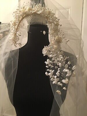 BRIDAL VEIL White Floral Comb Headband Double Layer - Elbow & Knee Length