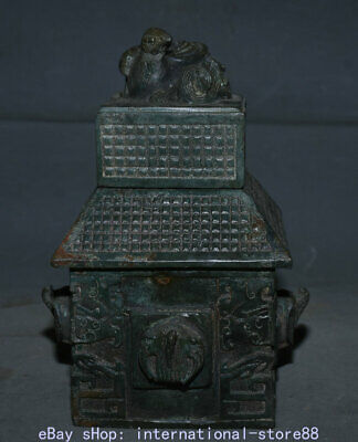"""9.2"""" Antique Chinese Bronze Ware Xizhou Dynasty Palace Beast Face House vessel"""