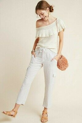 NWT SANCTUARY for Anthropologie Stripe Linen Cargo Pants Size M Brown Cropped