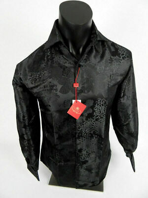 Mens Leonardi French Cuff Dress Shirt Black with Floral Style Design Sheen