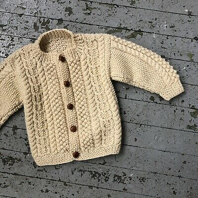 Vintage Youth Size Cable Knit Cardigan Fishermans Sweaterivory Wool