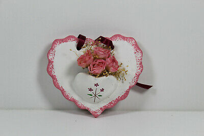 Ceramic Valentines Day Heart With Artificial Flowers, White