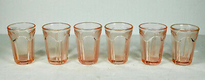 Vintage Set Lot 6 Sweet Pink Depression Mini Shot glasses block pattern 2""