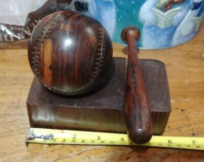 Vintage Hand Carved Mahogany Wood Baseball and Bat on Stand