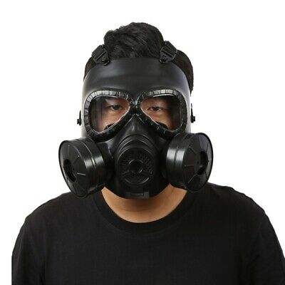Tactical Airsoft/Paintball Gas Mask Full Face Protection With Dual Fan, Cosplay