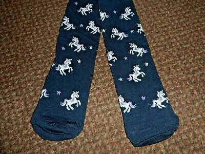 new baby Girls f+f cute navy blue unicorn Tights 3-4 years - BNWOT