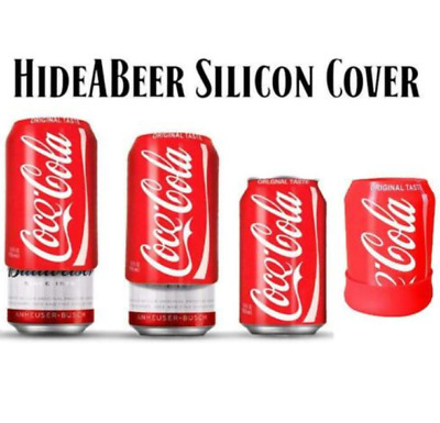 HideABeer ® 375ml Reuseable Beer Can Sleeve Silicone Cover Coca Cola fits all ca