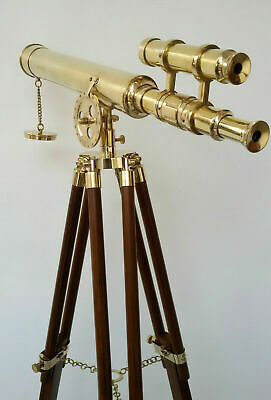 Nautical Brass Double Barrel Telescope  Astro Wooden Tripod Home Decor