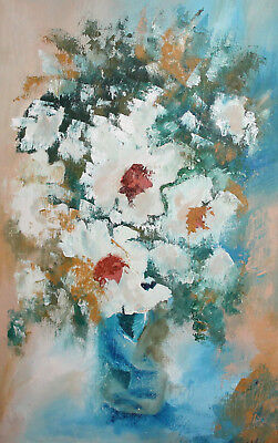 Vintage impressionist floral oil painting still life with flowers signed