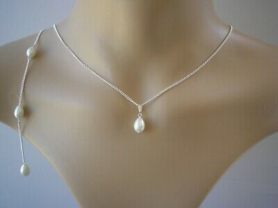 v7 Ivory Cream Teardrop Pearl Backdrop Necklace Silver / Gold Bridal Back chain