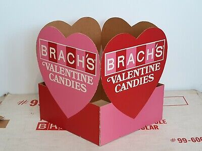 1968 VINTAGE BRACH'S CANDY VALENTINE HEARTS RETAIL STORE  DISPLAY 4 SIDED Square