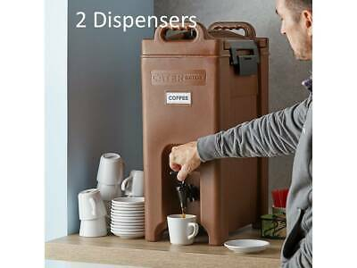 (2 Pack) 5 Gallon Brown Insulated Stackable Catering Beverage Carrier Dispensers