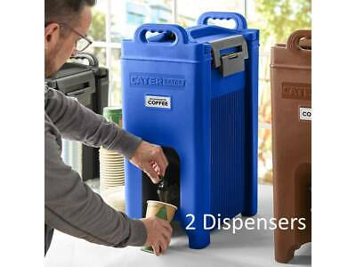 (2 Pack) 5 Gallon Blue Insulated Stackable Catering Beverage Carrier Dispensers