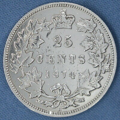 Canada 1874 H - Silver Quarter - Circulated - Estimated Grade F-VF - Cleaned -1