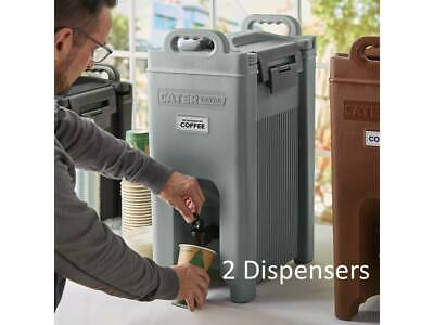 (2 Pack) 5 Gallon Gray Insulated Stackable Catering Beverage Carrier Dispensers
