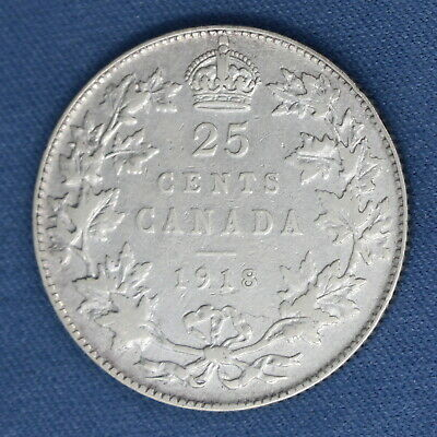 Canada 1918 - Silver Quarter - Circulated - Estimated Grade VF - Cleaned 1