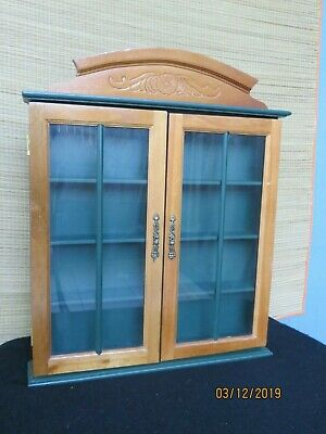 Green Wooden Wall Hanging Curio Display Box Cabinet Shelf with Doors
