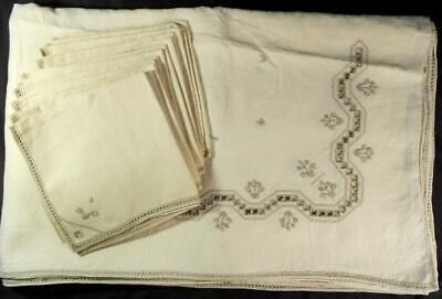 Vintage Italian Off Wht Linen Tablecloth W/12 Dinner Napkins Hand Embroidery