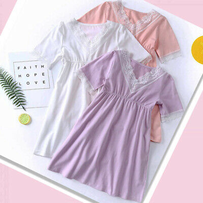 Girls Nightdress Nightie Pyjamas Cotton Short sleeve Nightwear Age 3-12 Years